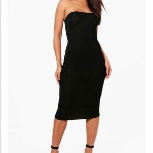 BOOHOO Bandeau Curved Hem Bodycon Dress